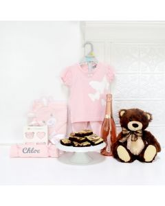AN EXPRESSION OF JOY BABY GIFT SET WITH CHAMPAGNE, baby girl gift basket, welcome home baby gifts, new parent gifts
