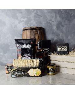 Snacks & Liquor Gourmet Gift Crate, liquor gift baskets, gourmet gift baskets, gift baskets