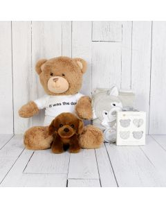 PLUSHES FOR A BABY BOY GIFT BASKET, baby girl gift hamper, newborns, new parents