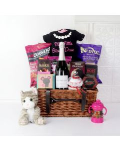 I AM BORN GIFT BASKET WITH CHAMPAGNE, baby girl gift basket, welcome home baby gifts, new parent gifts