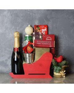 Treats & Champagne Sleigh Basket
