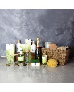 Deluxe Eucalyptus & Champagne Spa Gift Set, champagne gift baskets, spa gift baskets, spa gifts, gift baskets